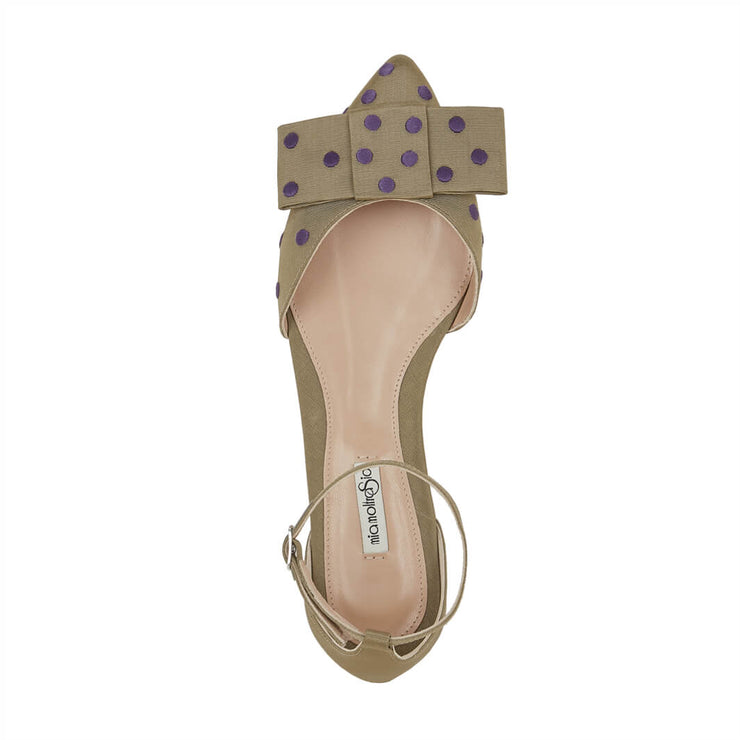 Gros Grain sandals with purple dots