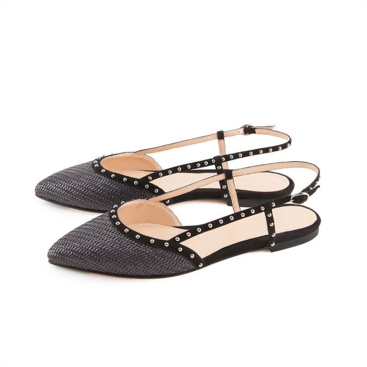 Black Raffia Sling Back Sandals