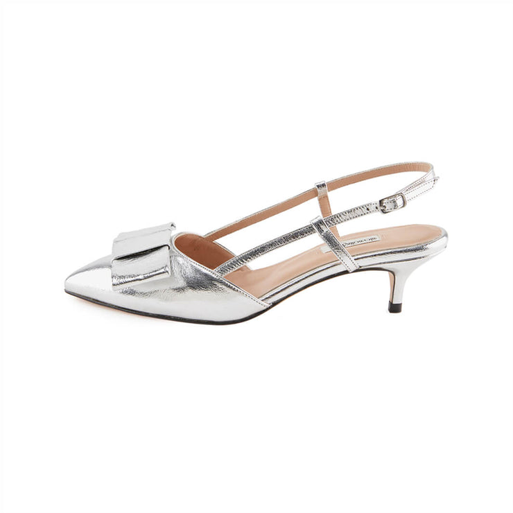 Silver Leather sandals with Kitten Heel