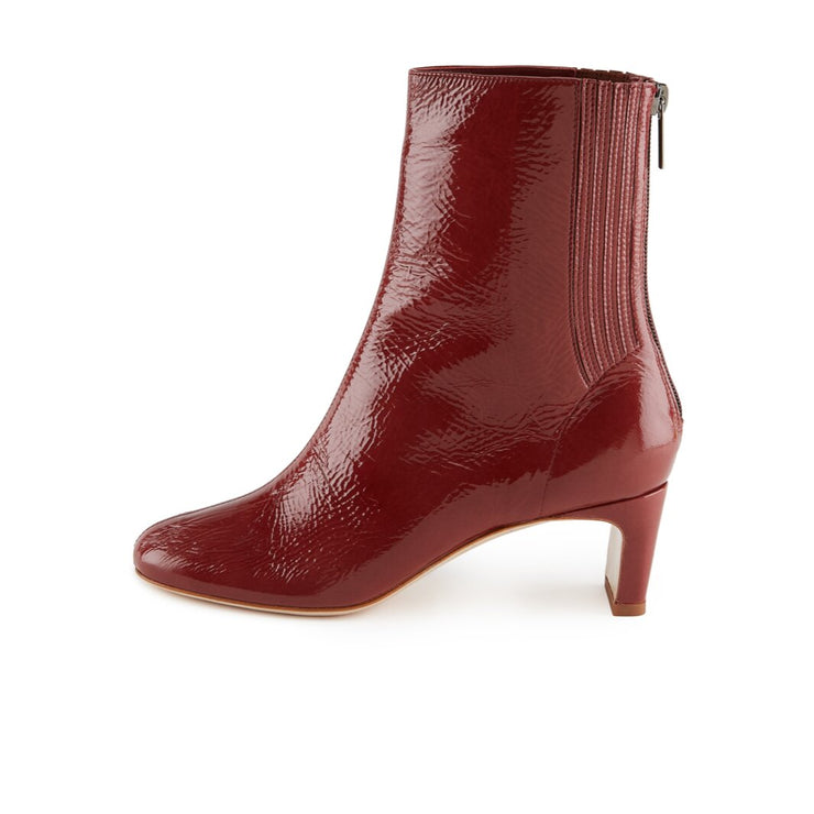 Dark red Patent Leather Ankle Bootie