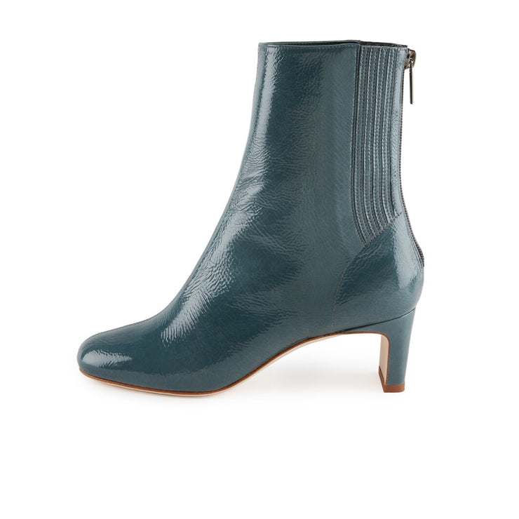 Petrol Patent Leather Ankle Bootie