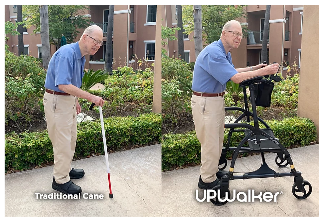 UPWalker Customer Success Story: From Bent-over in Pain with a Cane to Upright and Enjoying Walking in the UPWalker
