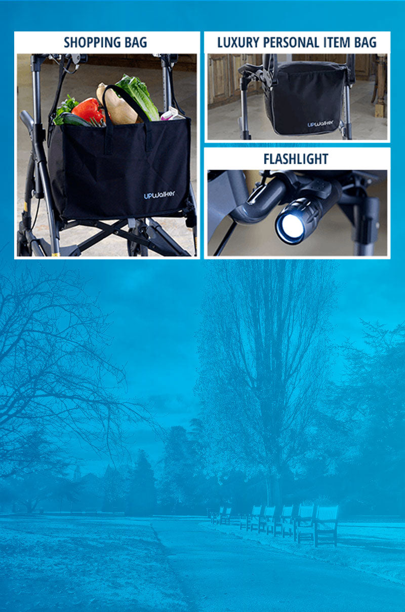 A collage of UPWalker Lite accessories: the branded shopping bag, the luxury personal item bag, & the flashlight attachment.