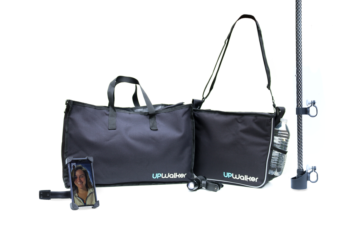 Walker accessory bundle: a walker flashlight attachment, phone holder mount, cane holder, a grocery bag, and a tote bag.