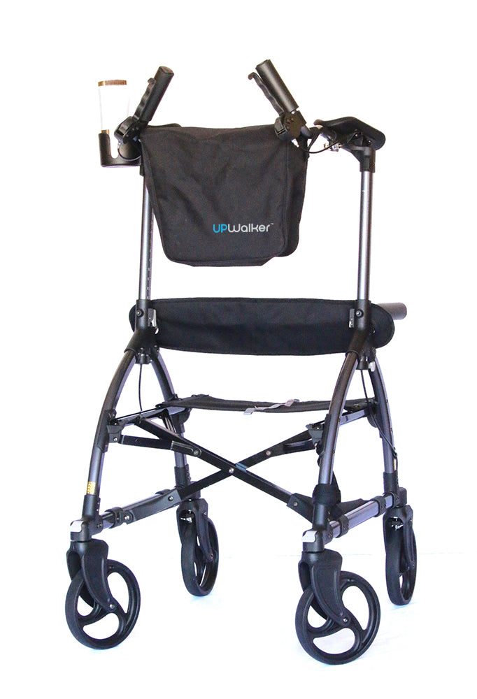 An UPWalker upright walker with a seat from LifeWalker, including a branded bag attached to the handles and a drink holder.