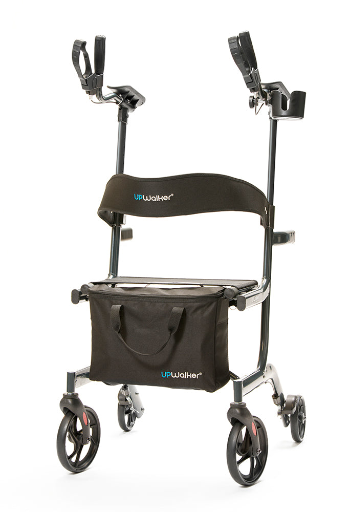 A small, lightweight UPWalker Lite Upright Walker with the branded personal item bag and backrest support attachments.