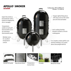 Napoleon Apollo 3 in 1 Charcoal BBQ Smoker AS300