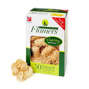Flamers Natural Wood BBQ Lighters Box of 50