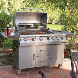 BULL 7 Burner Propane Gas BBQ With Double Side Burner Cart and Rotisserie