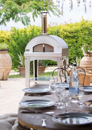 Fontana Mangiafuoco Wood Pizza Oven with Trolley - STAINLESS STEEL