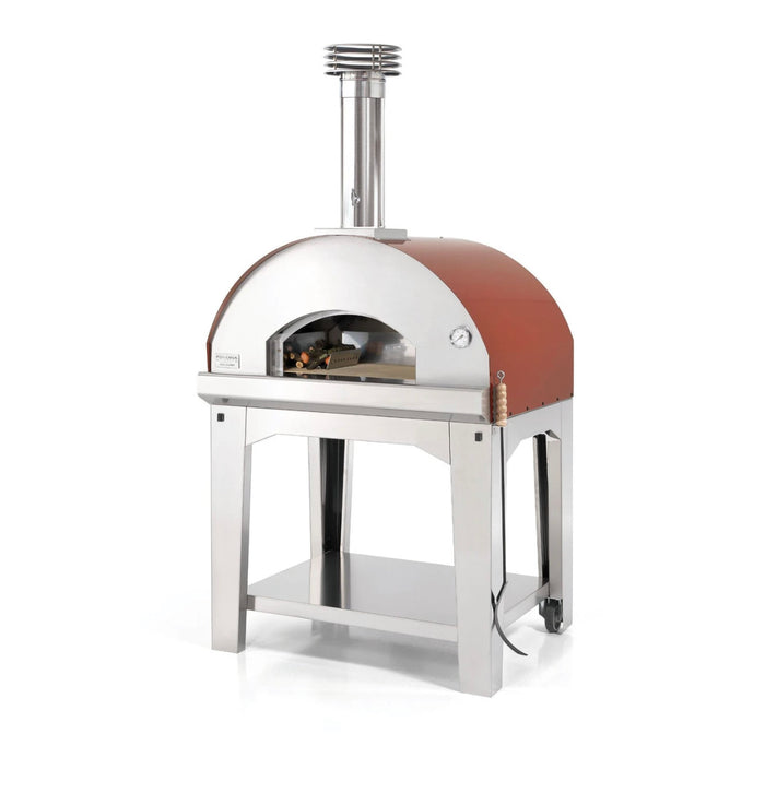 Fontana Mangiafuoco Wood Pizza Oven with Trolley - ROSSO