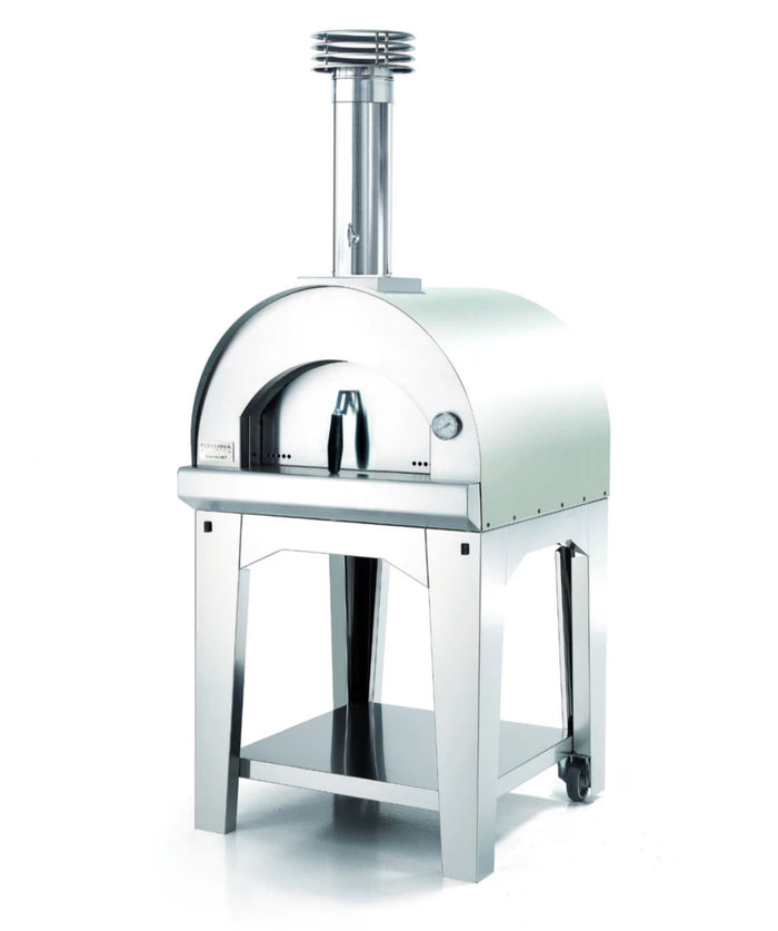 Fontana Margherita Wood Pizza Oven with Trolley - STAINLESS STEEL