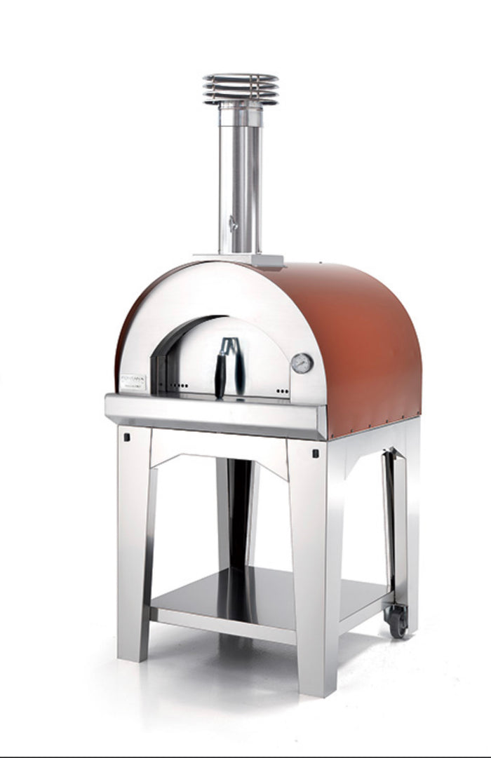 Fontana Margherita Wood Pizza Oven with Trolley - ROSSO