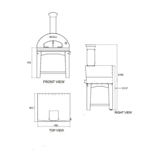 BULL Wood Fired Italian Pizza Oven With Cart