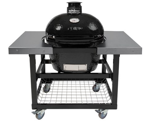 Primo LG300 Oval Ceramic Kamado BBQ Cart Model with Stainless Steel Side Shelves