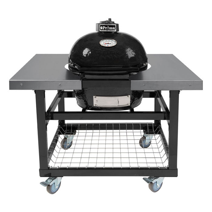 Primo JR200 Oval Ceramic Kamado BBQ Cart Model With Stainless Steel Side Shelves