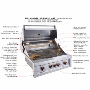 Sunstone® 4 Burner Built In RUBY series Gas Grill Head