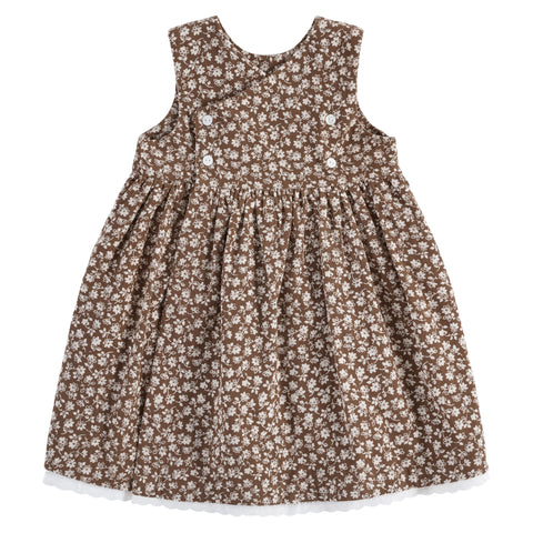 little cotton clothes  Aida pinafore - floral print corduroy in nut