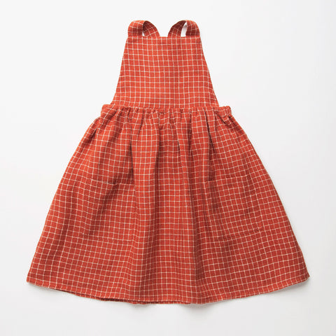 Nellie Quats  Conkers Pinafore-Rust Check Linen