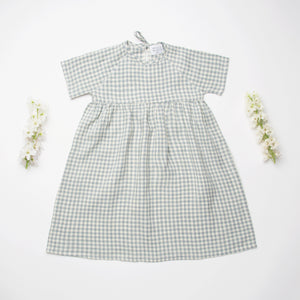 Nellie Quats   Hopscotch Dress-Blue Check Linen