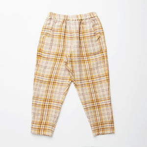 Nellie Quats Jumping Jack Trousers-Buttermilk Plaid Linen