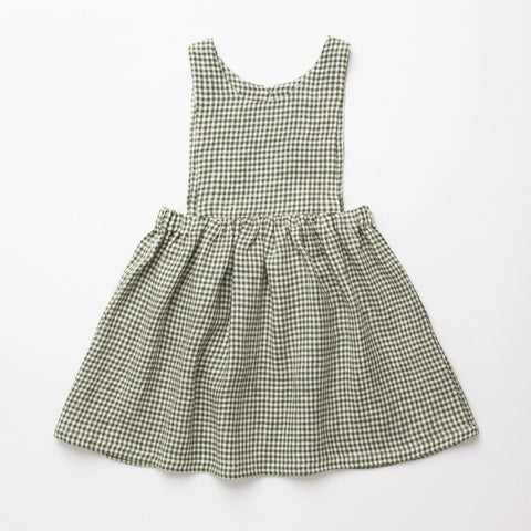 Nellie Quats  Marlow Pinafore-Green Check Linen