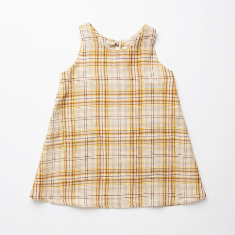 Nellie Quats  Tip Toe Dress-Buttermilk Plaid Linen