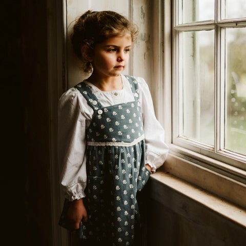 little cotton clothes  Tabitha Pinafore - upsy daisy floral on moss crepe