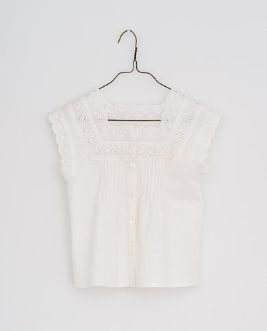 little cotton clothes  Clementine vintage lace blouse-off white