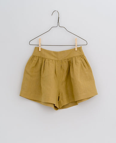 little cotton clothes   Joanie shorts-mustard linen