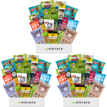 Load image into Gallery viewer, Elevate- 3 Month Vegan, Gluten Free Subscription Snack Box ($29.99 Per Month -12 Different Snacks Every Month)