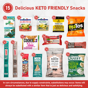 Elevate - Keto Friendly High Quality, Snack Box [ 15 Count ] Delicious and Satisfying Low Carb, Low Sugar, Gluten Free Snacks, Makes A Wonderful Gift For All Occasions --- FREE SHIPPING