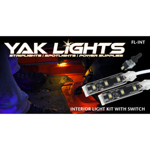 Yak Lights Interior Flex Light Kit with Waterproof Toggle Switch - Ultra Low Profile Marine Grade Kayak LED Strips