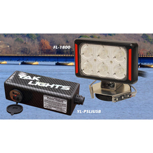 Yak Lights FL-1800 Spotlight with Navigation Marker Lights and 6Ah Rechargable Lithium Power System