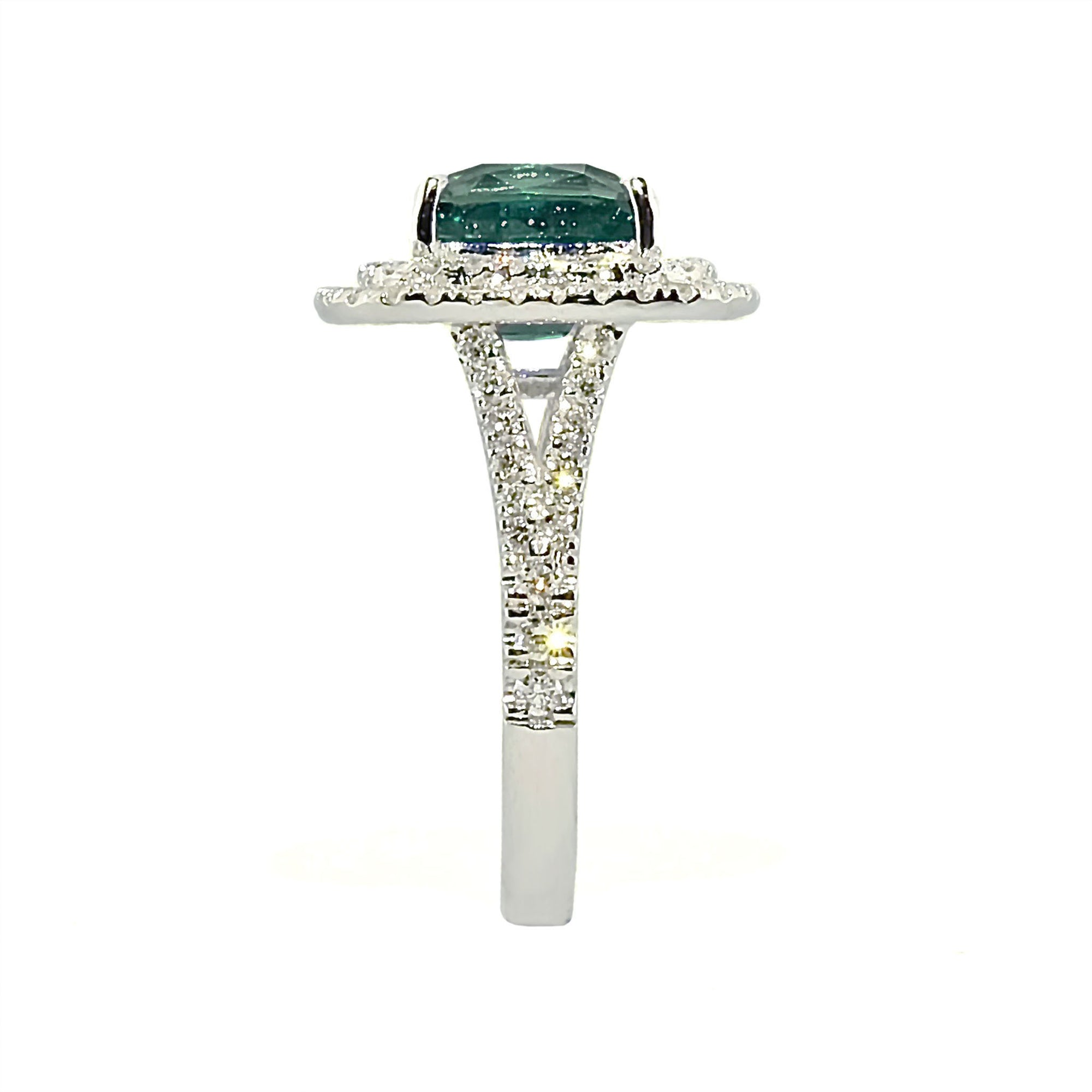 Anthio Double Halo Ring - Green Long Cushion 2019-69