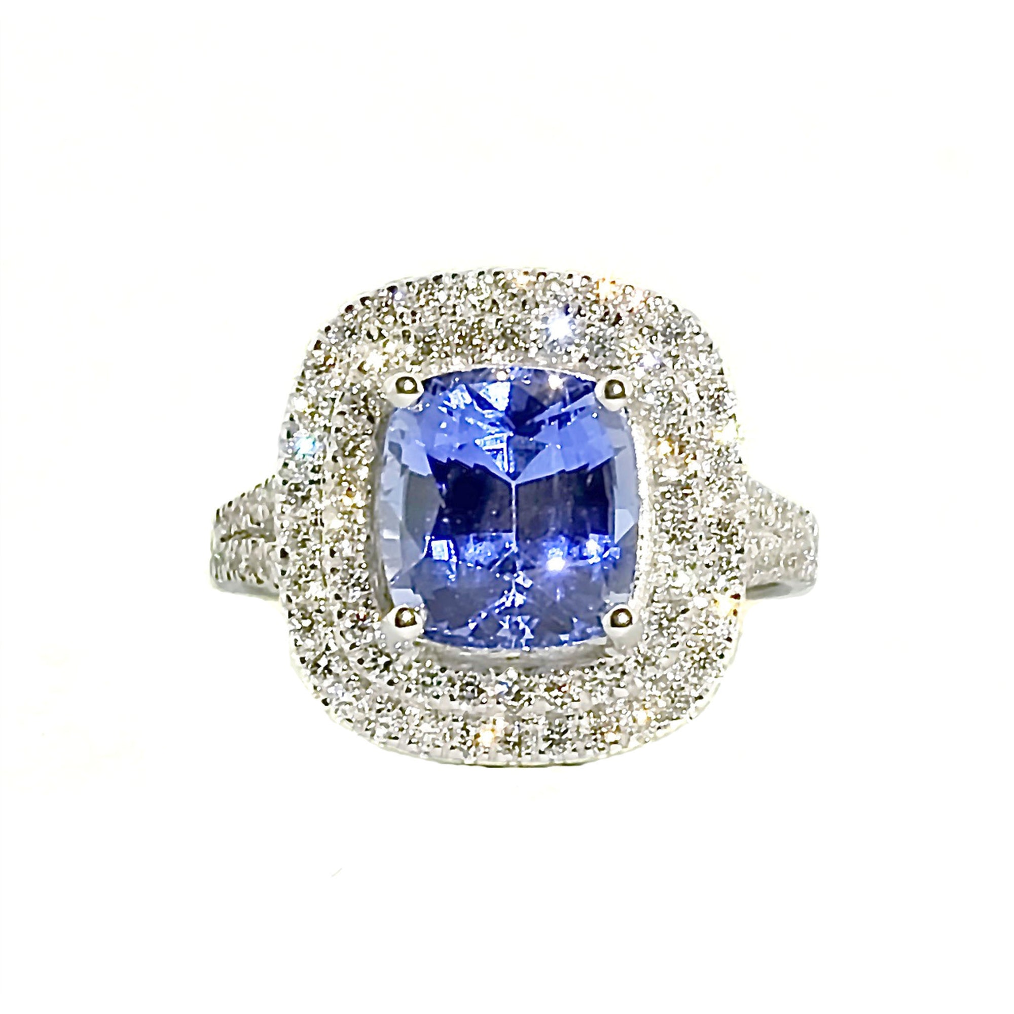 Anthio Double Halo Ring - Blue Long Cushion 2019-69