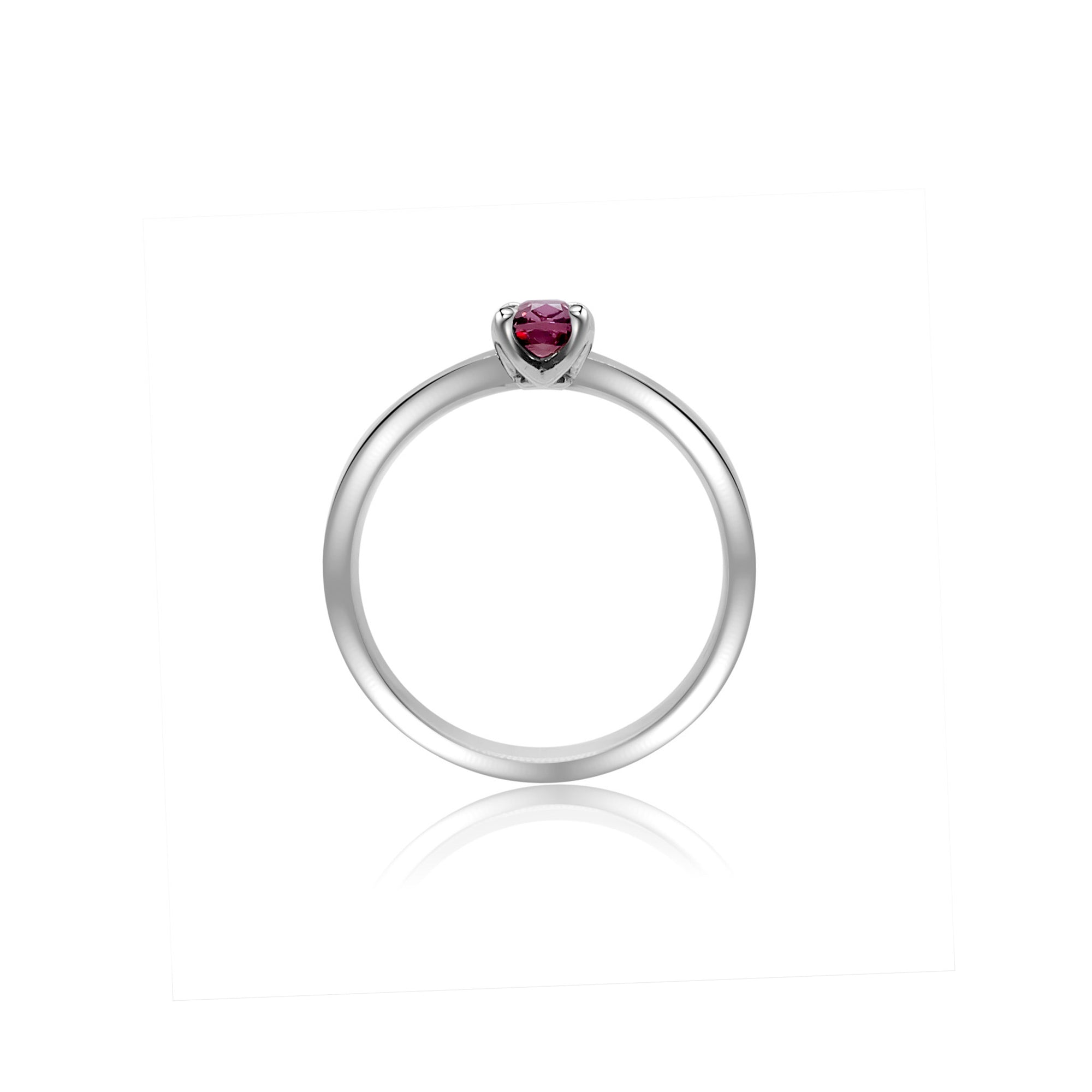 Cyntha Solitaire Pinched Shank Ring - Pink Long Cushion 2021-015