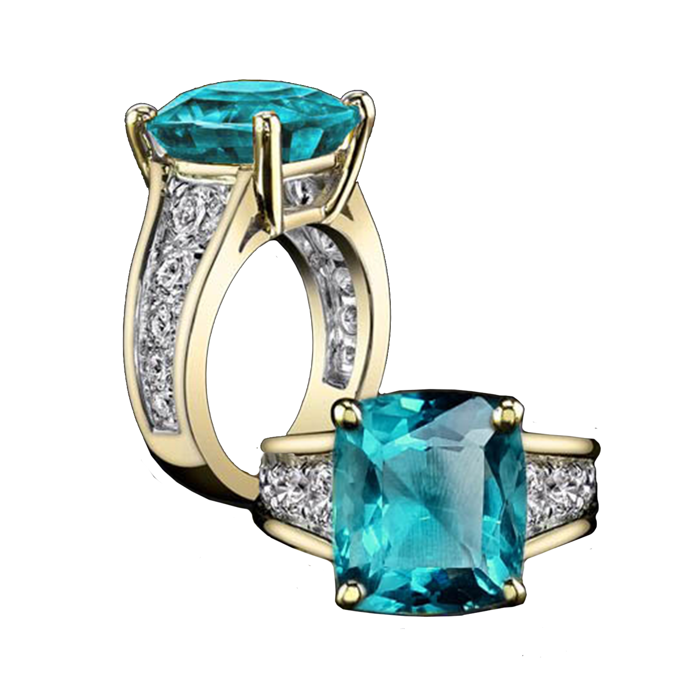 Victorine Solitaire Ring - Electric Blue Cushion W073