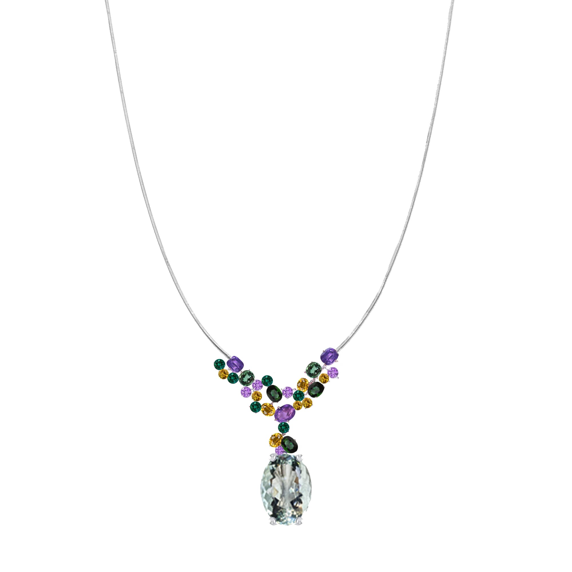 Auguste Multi Stone Necklace - Green Oval W079