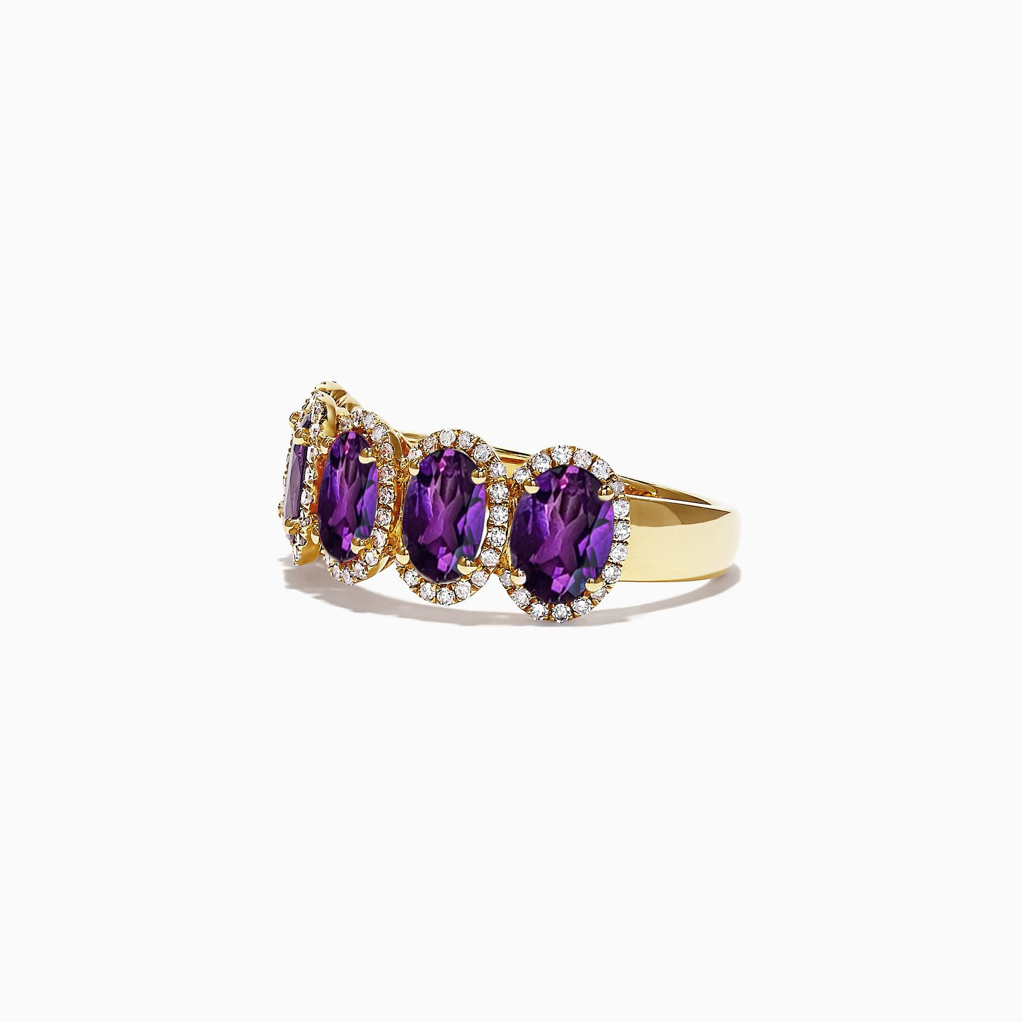 Dermain Half Eternity Halo Ring - Purple Oval W083