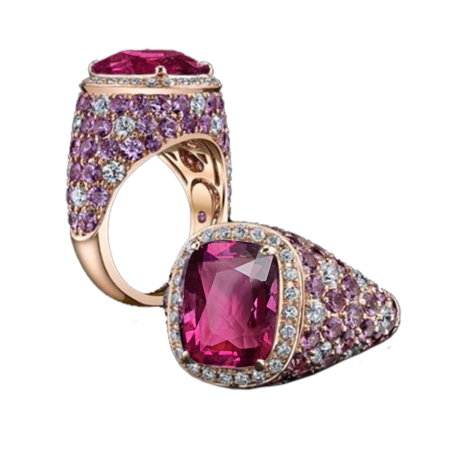 Floria Cocktail Ring - Pink Long Cushion W087