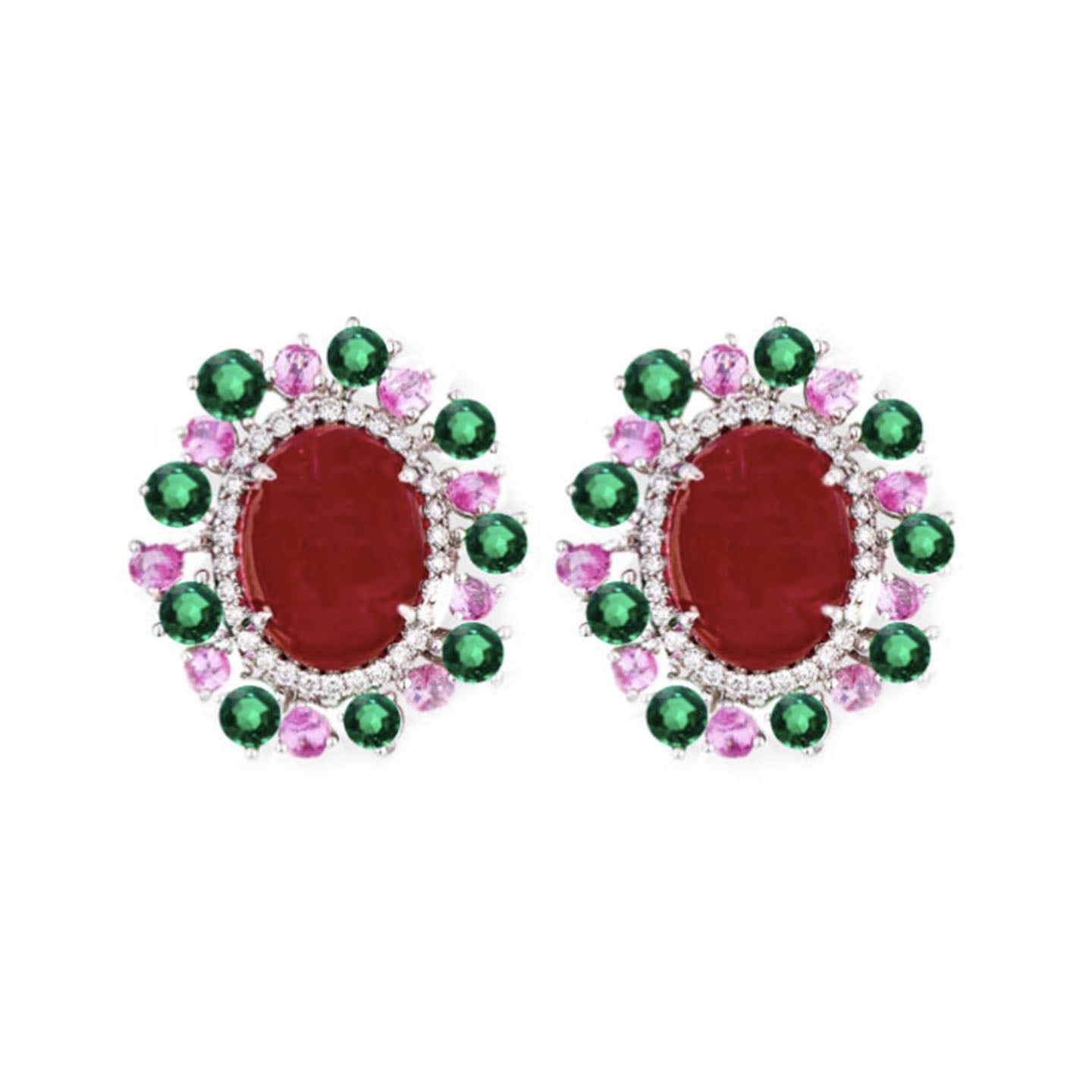 Ashlene Halo Earrings - Red Oval W105