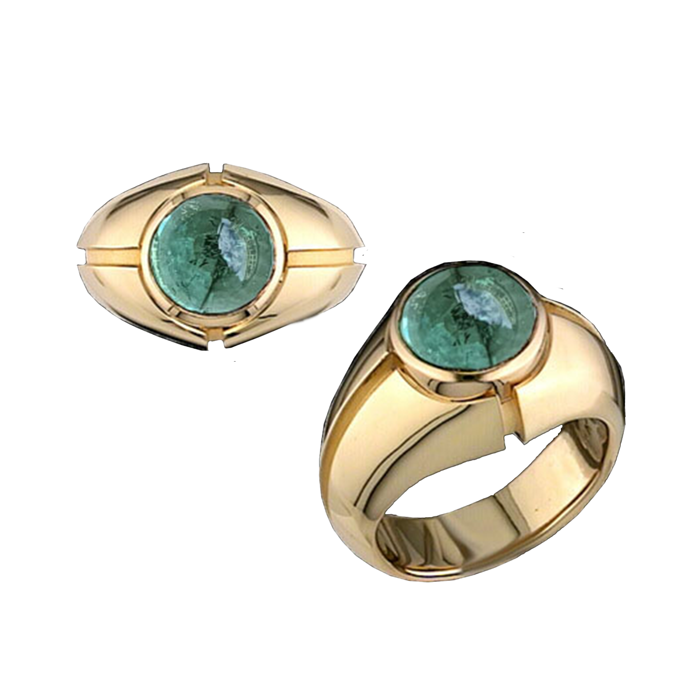 Bruce Mens Ring - Green Round W107