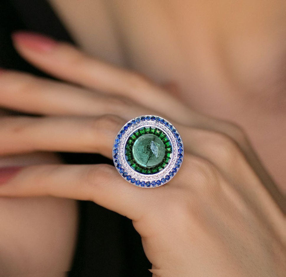 Cantella Triple Halo Ring - Green Oval W108