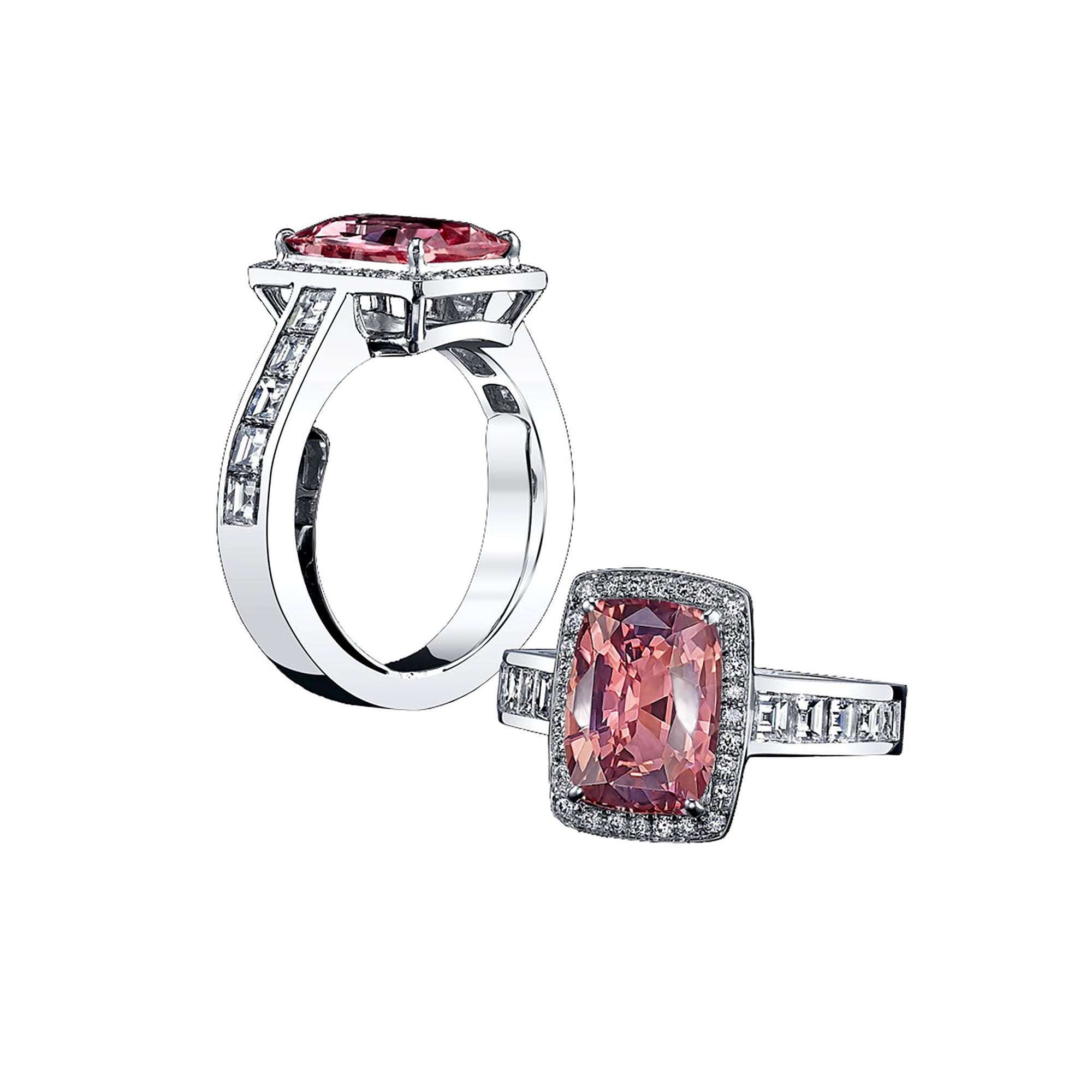 Julia Halo Ring - Pink Long Cushion W113