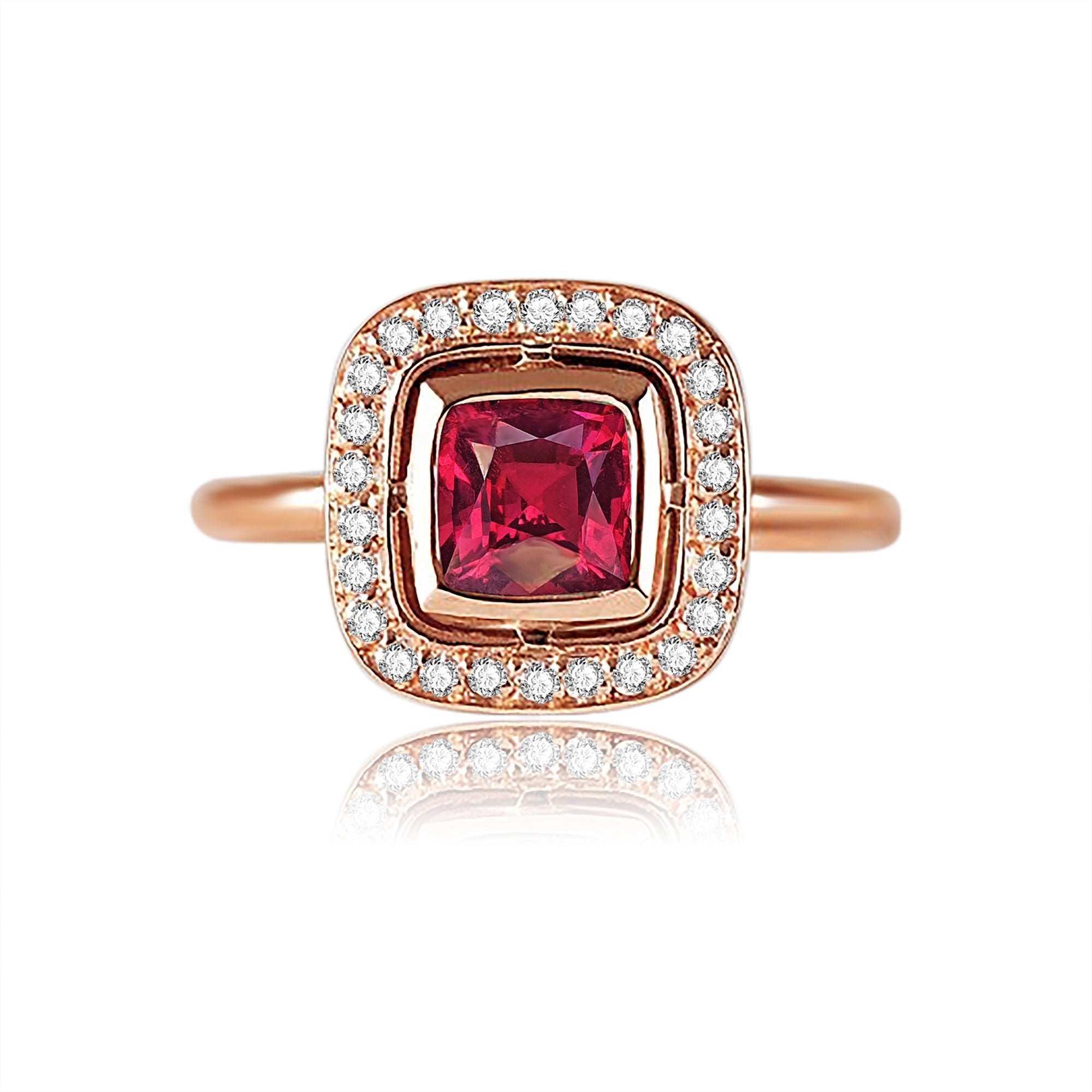 Giana Halo Bezel Ring - Pink Princess W116