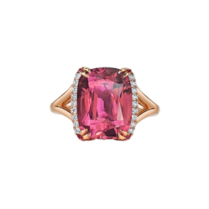 Alyssa Semi Halo Gemstone Ring - Pink Long Cushion W117