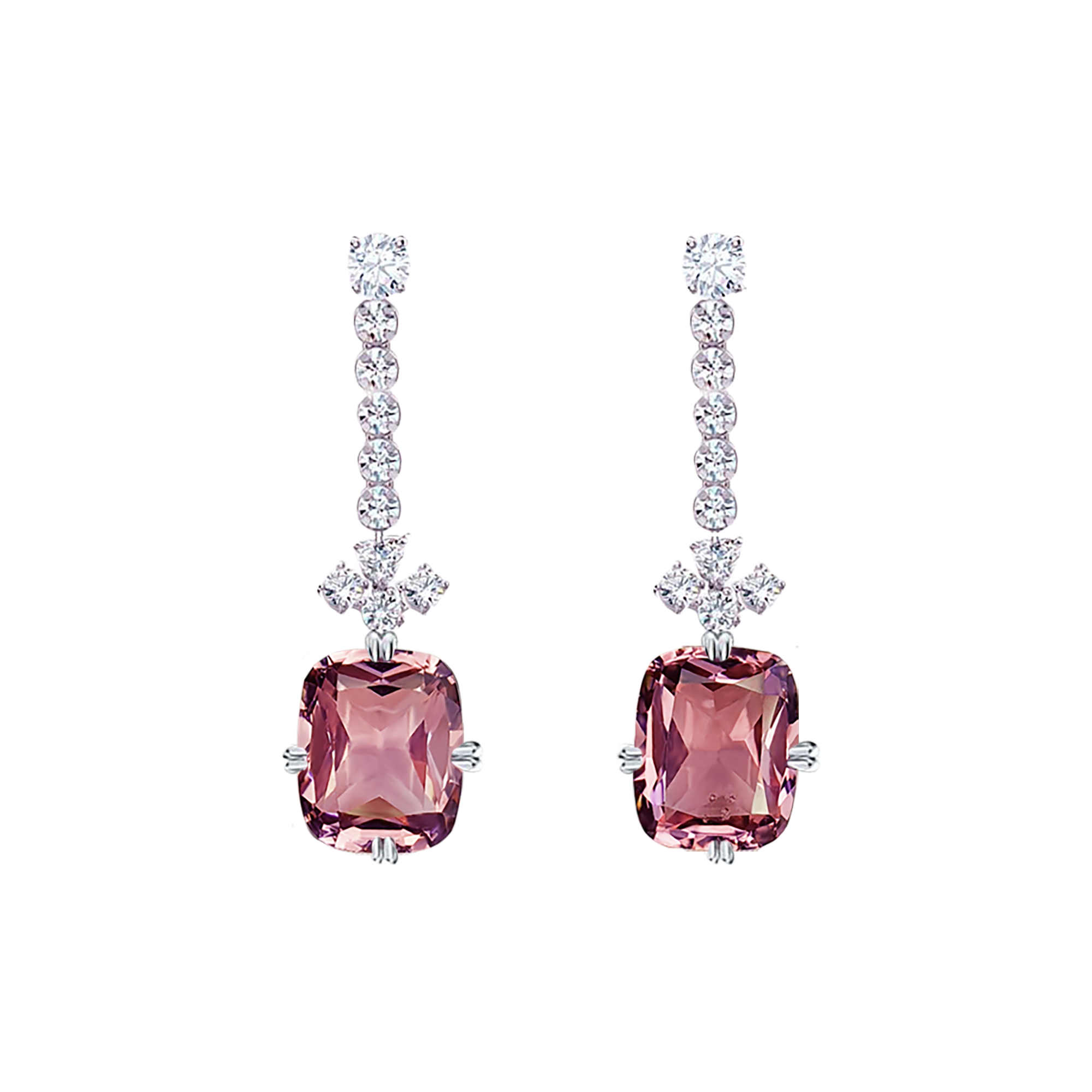 Dinni Dangling Earrings - Pink Long Cushion W120