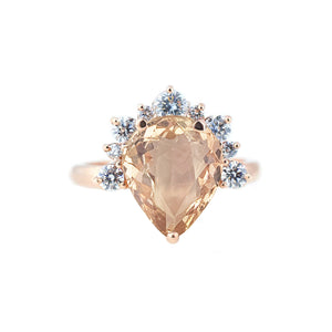 Polly Starburst Semi Halo Ring - Pink Pear W132