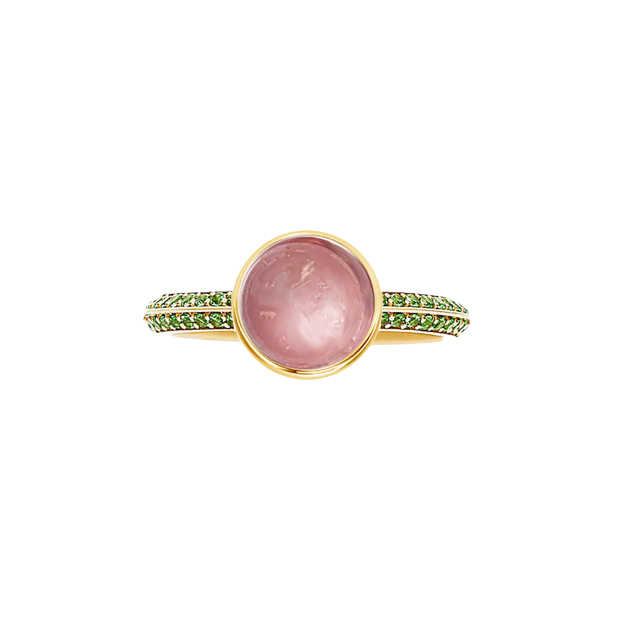 Coco Solitaire Knife-Edge Gemstone Ring - Pink Round W144
